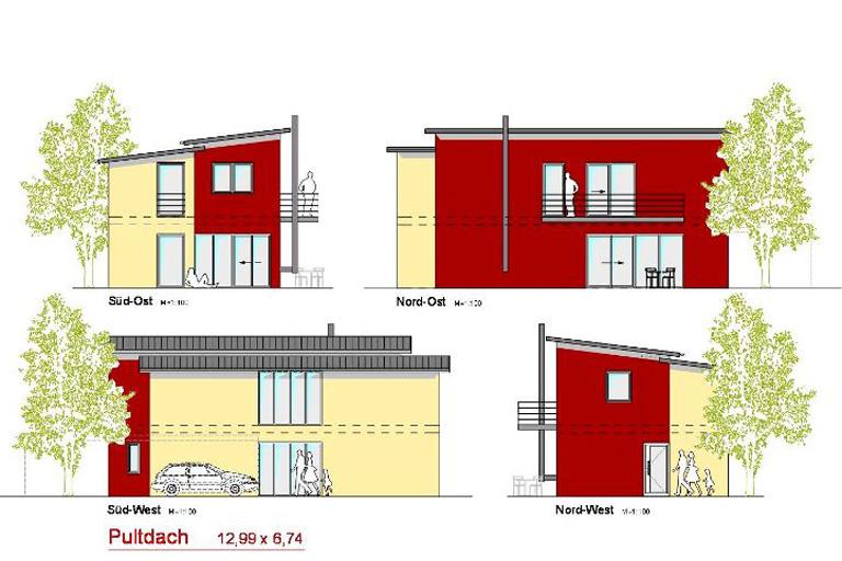 Pultdachhaus-Studie